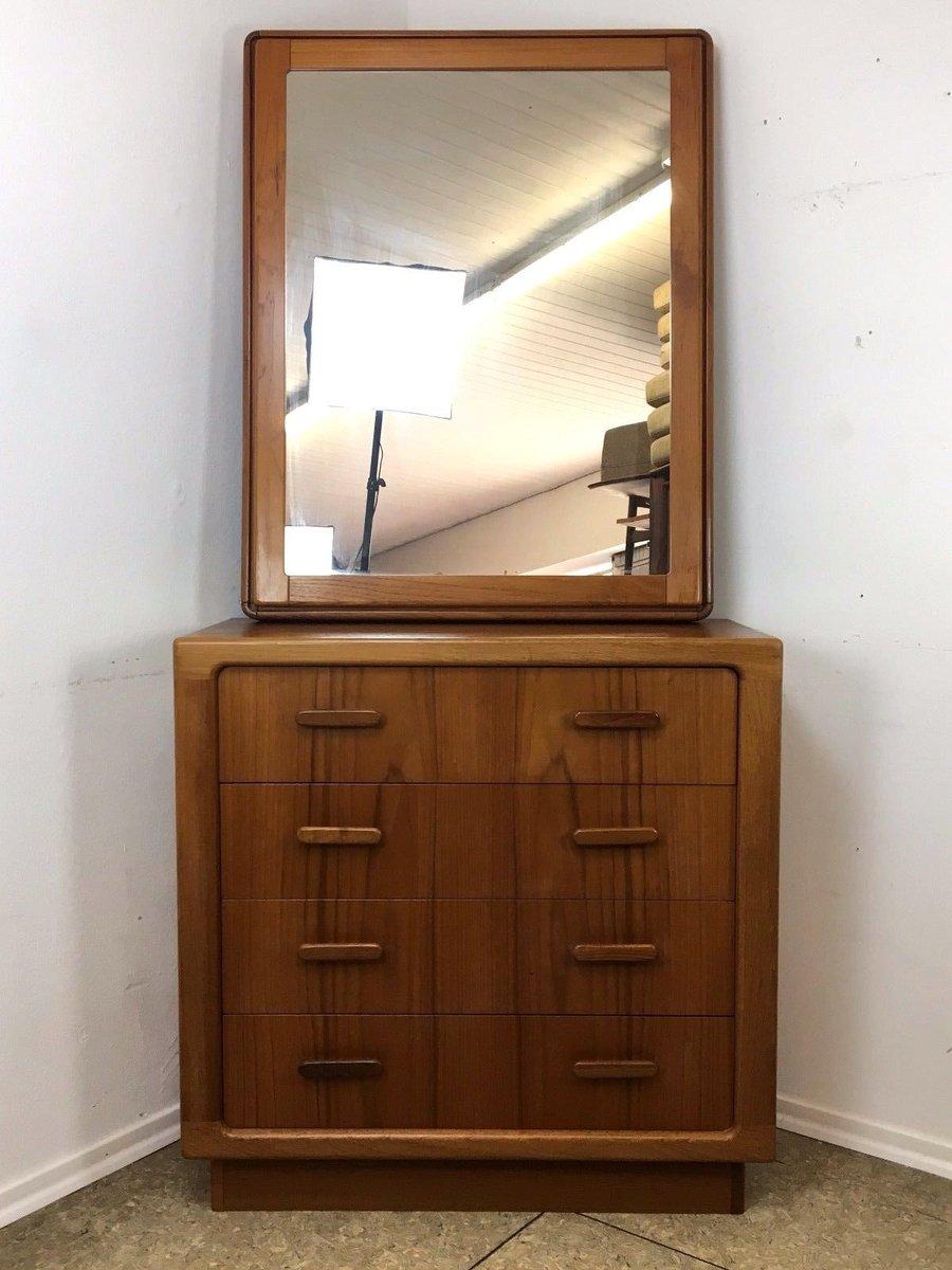 d nische teak kommode spiegel 1970er bei pamono kaufen. Black Bedroom Furniture Sets. Home Design Ideas
