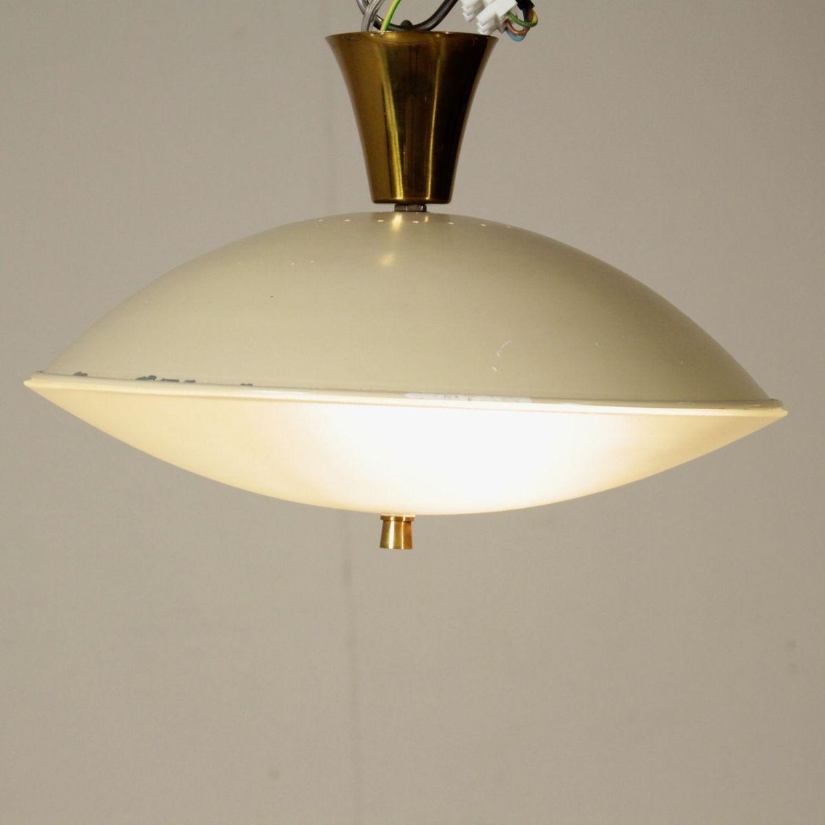 italienische deckenlampe aus messing glas und aluminium 1950er bei pamono kaufen. Black Bedroom Furniture Sets. Home Design Ideas
