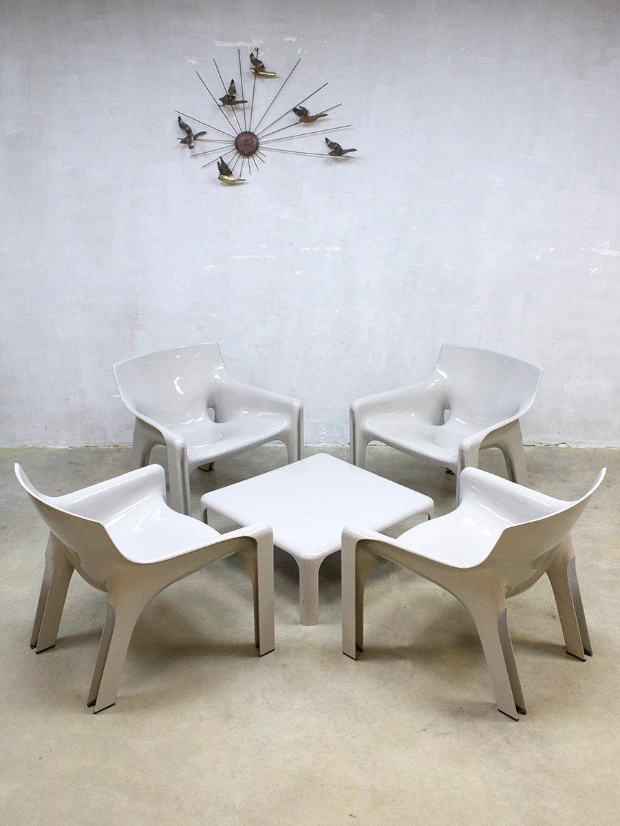 mobilier de salon vicario vintage par vico magistretti pour artemide milano set de 5 en vente. Black Bedroom Furniture Sets. Home Design Ideas