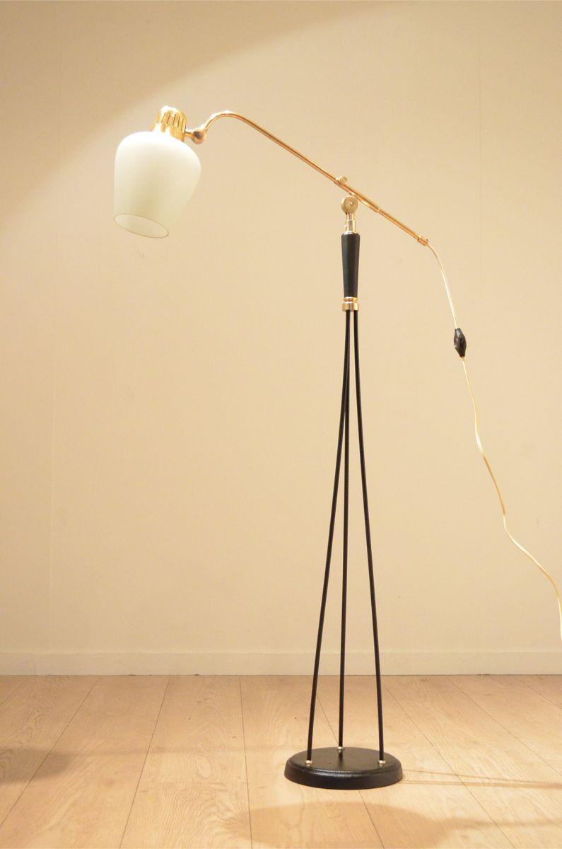 Verstellbare Skandinavische Mid-Century Stehlampe aus Schwarzem Metall