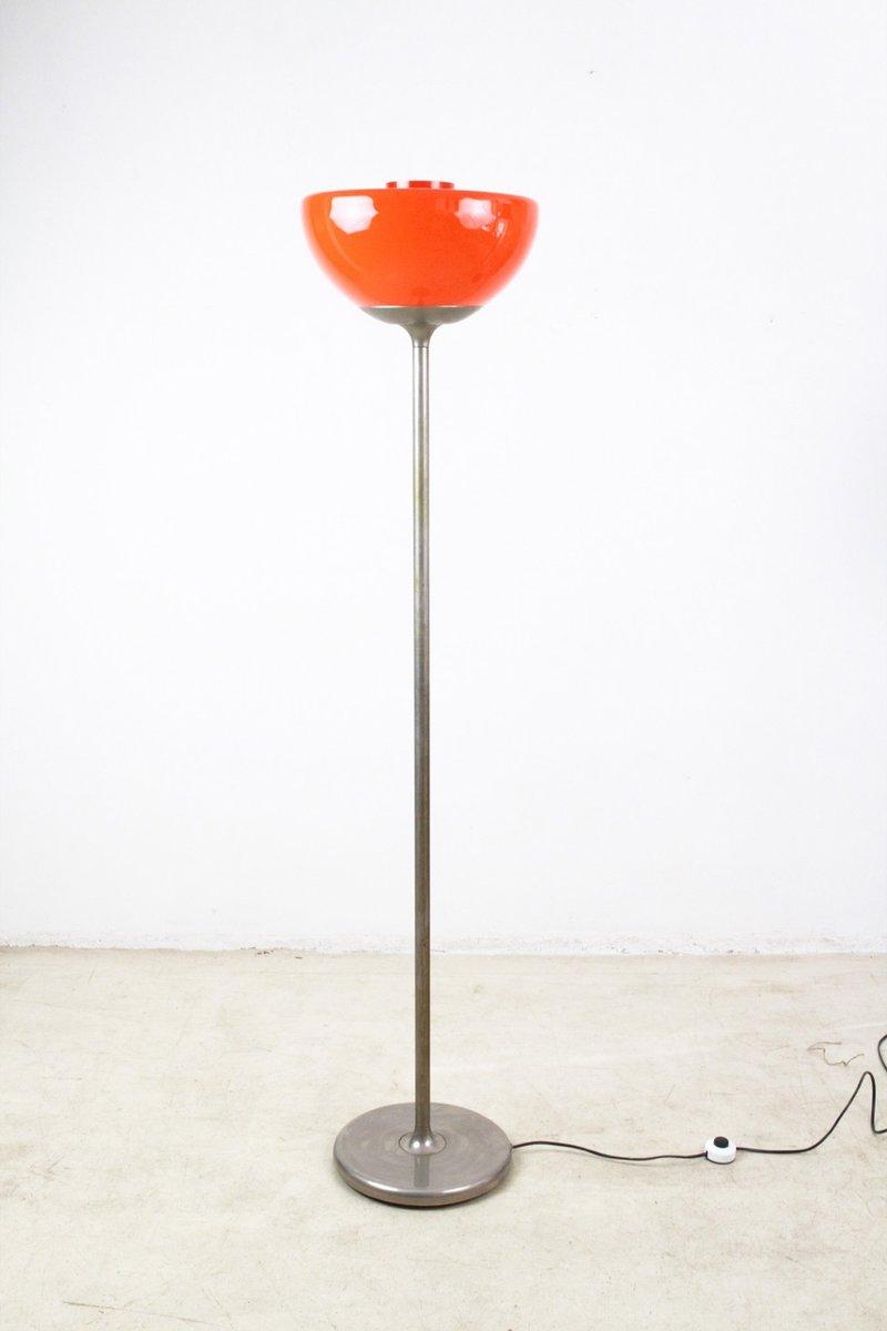 Vintage Orangenfarbene Glas Stehlampe, 1960er