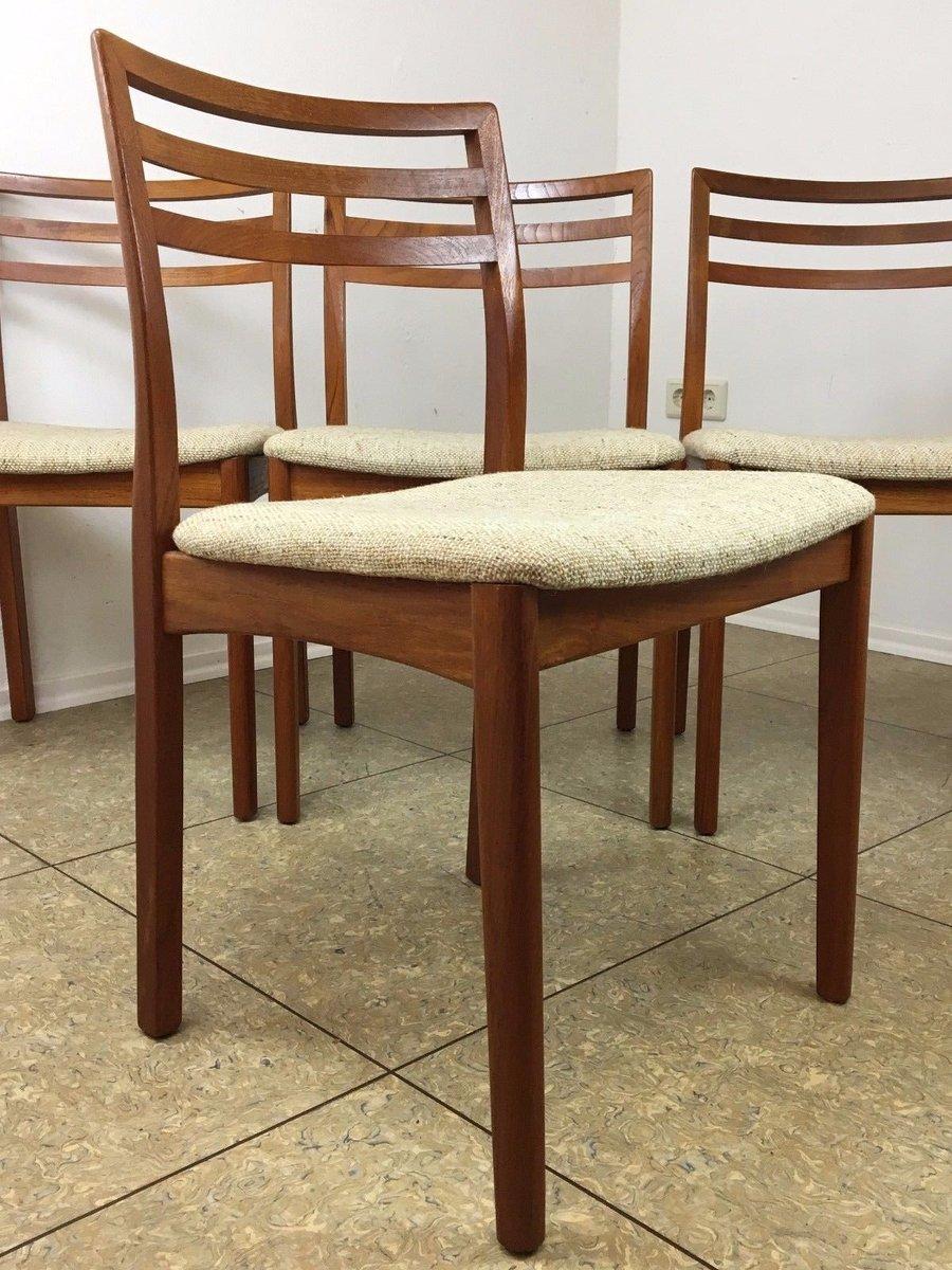 mid century teak esszimmerst hle 4er set bei pamono kaufen. Black Bedroom Furniture Sets. Home Design Ideas