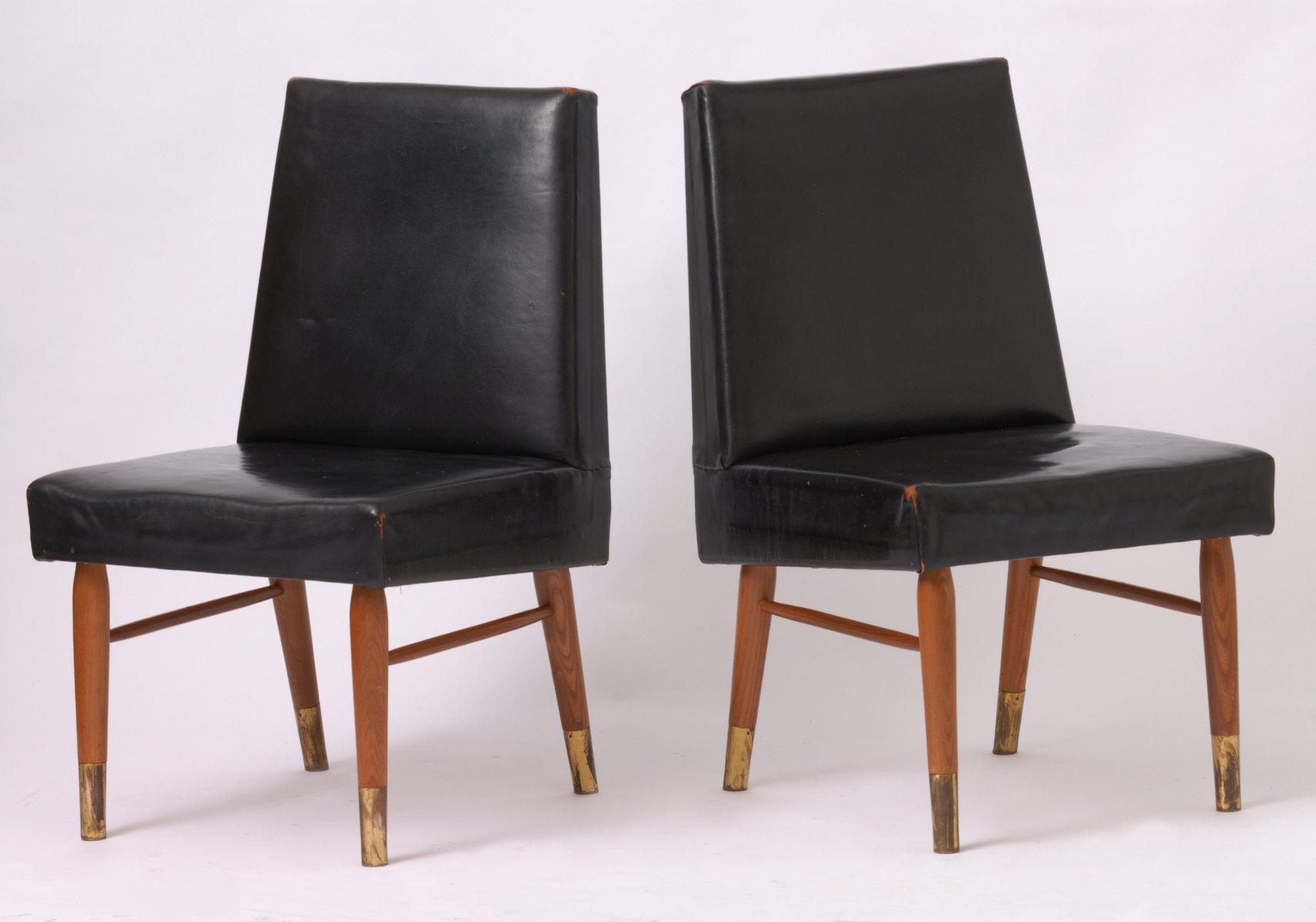 Sedie vintage in pelle nera, set di 2 in vendita su Pamono