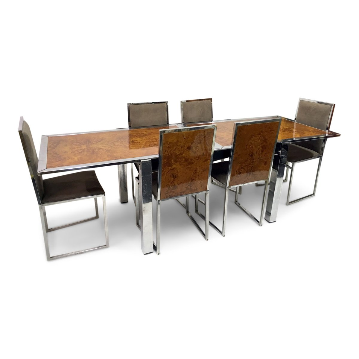 Tavolo da pranzo in radica di noce con sedie di la metal for Tavolo da pranzo con sedie