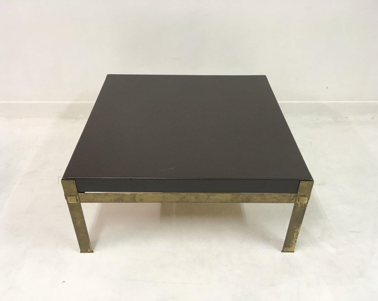 table basse en laiton et cuir france 1970s en vente sur pamono. Black Bedroom Furniture Sets. Home Design Ideas