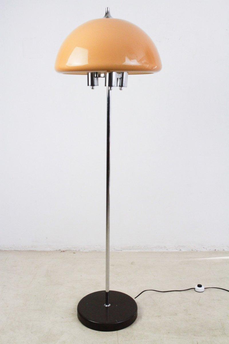Stehlampe aus Chrom mit Pfirsichfarbenem Schirm, 1960er