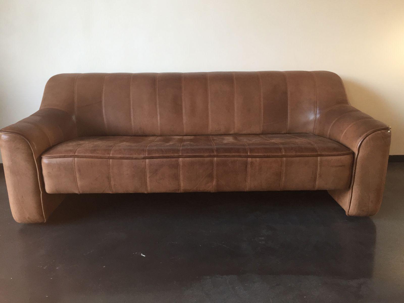Vintage Cognacfarbenes DS44 3-Sitzer Sofa von de Sede