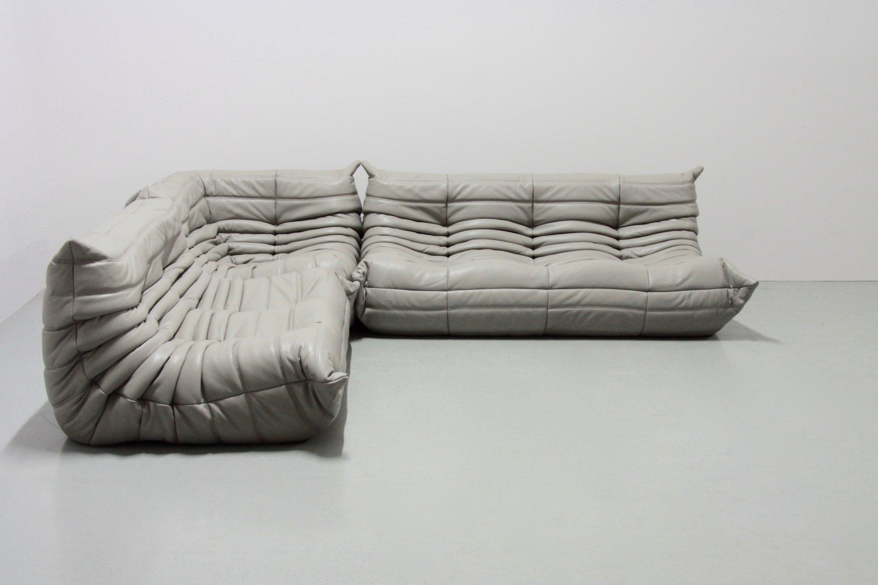 Light Grey Leather Togo Living Room Set by Michel Ducaroy for Ligne ...