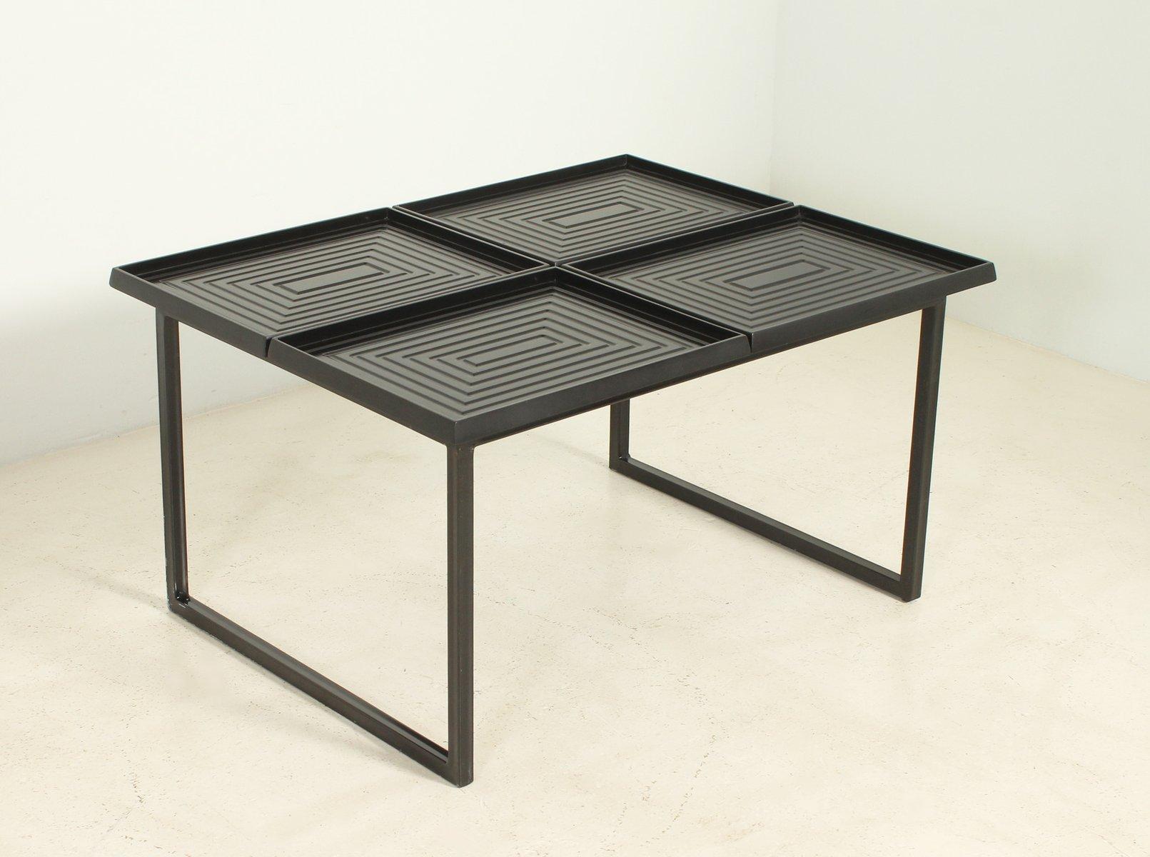 table basse g om trique avec plateaux amovibles 1980s en vente sur pamono. Black Bedroom Furniture Sets. Home Design Ideas