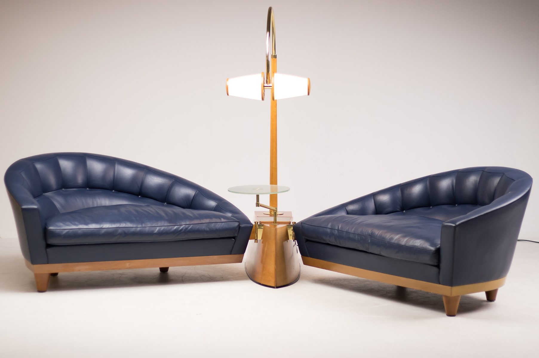 Vintage Blue Leather Aladino Living Room Set By Massimo Scolari For Giorgetti The Exceptional