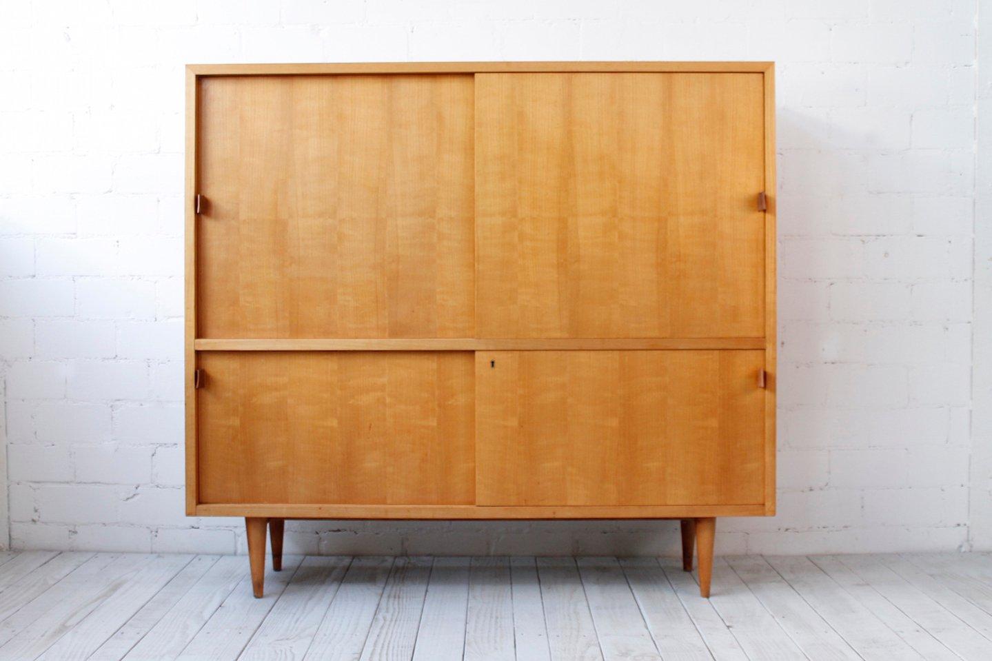 buffet haut vintage en merisier de wk m bel 1950s en vente sur pamono. Black Bedroom Furniture Sets. Home Design Ideas