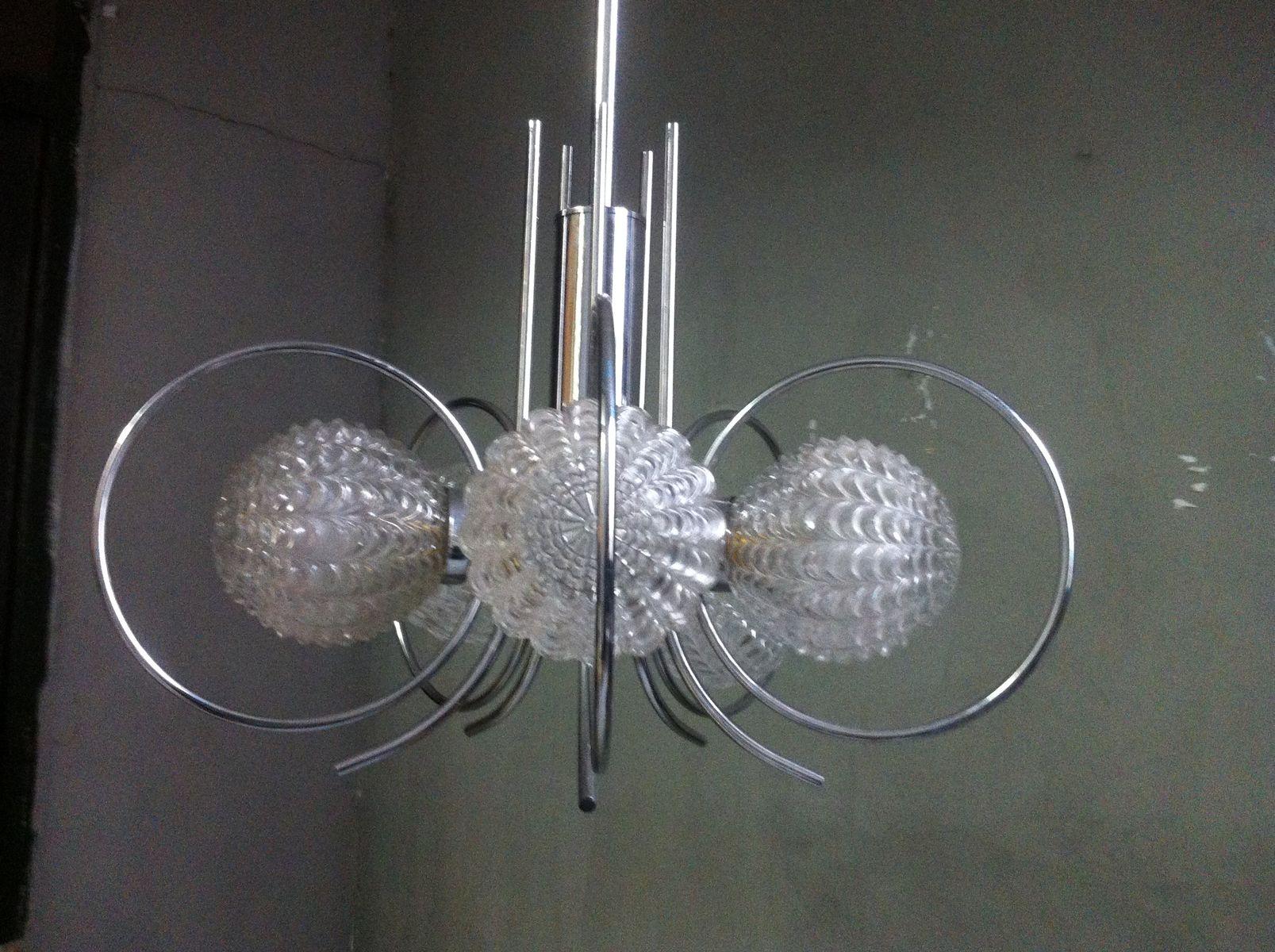 Space Age Deckenlampe aus Chrom & Geometrischem Glas, 1970er