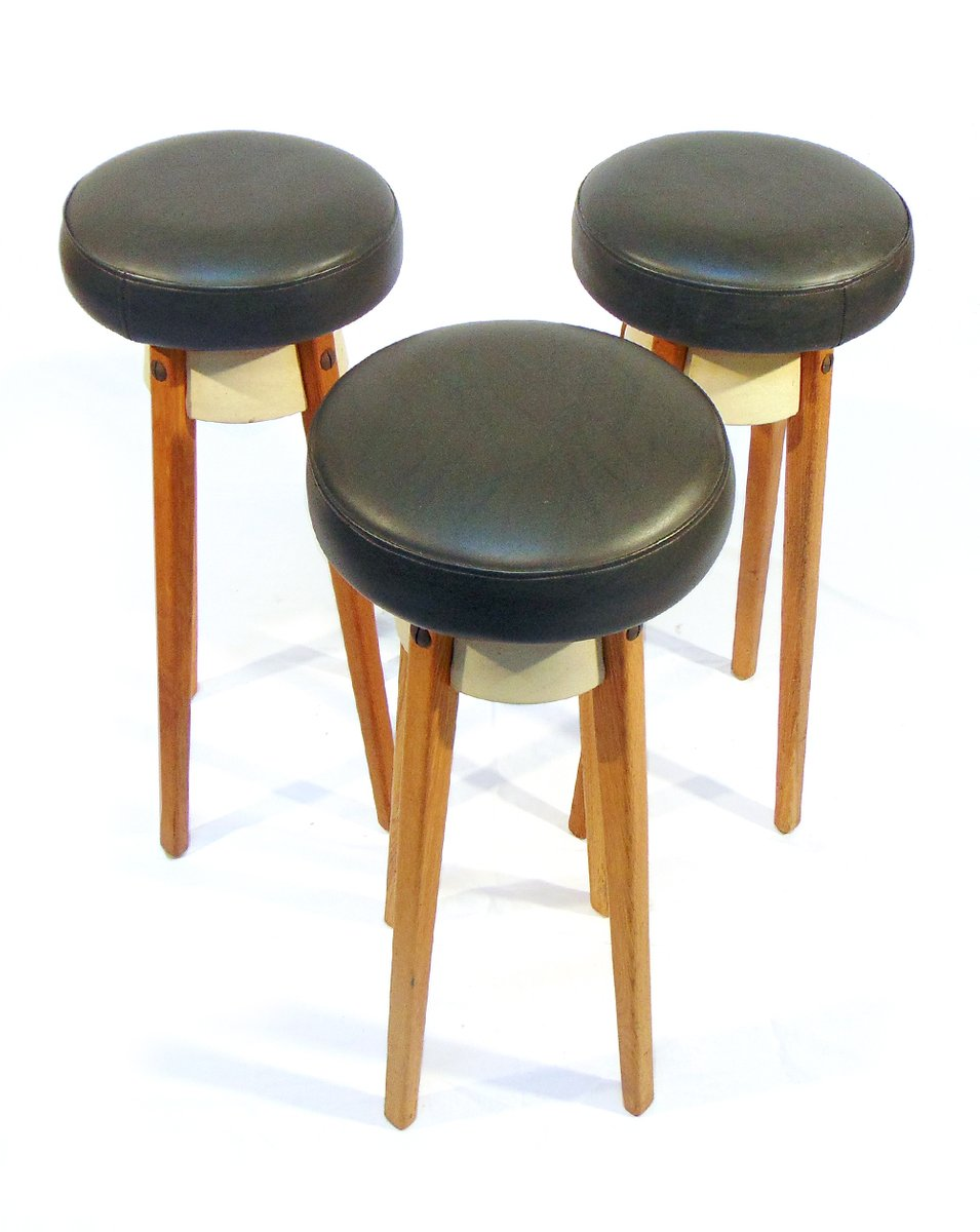 vintage scandinavian bar stools in oak and imitation leather set of 3 for sale at pamono. Black Bedroom Furniture Sets. Home Design Ideas