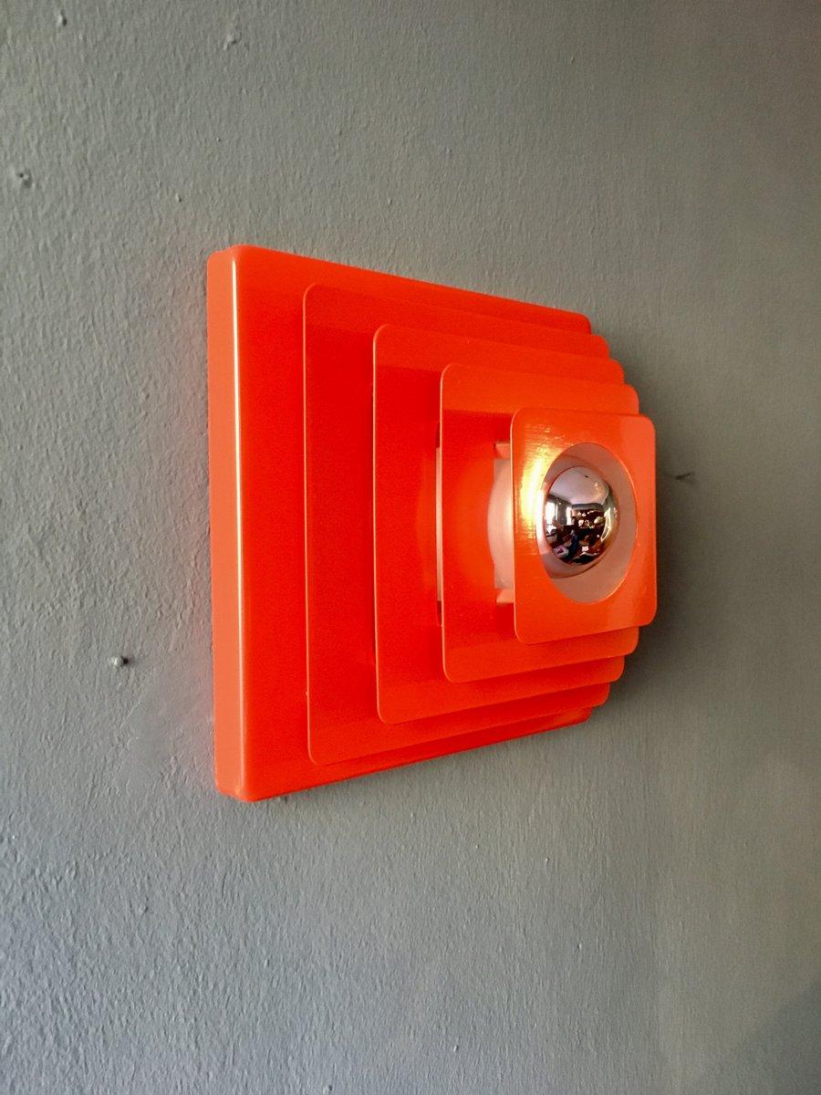 Rote Deckenlampe aus Metall von Hustadt, 1970er