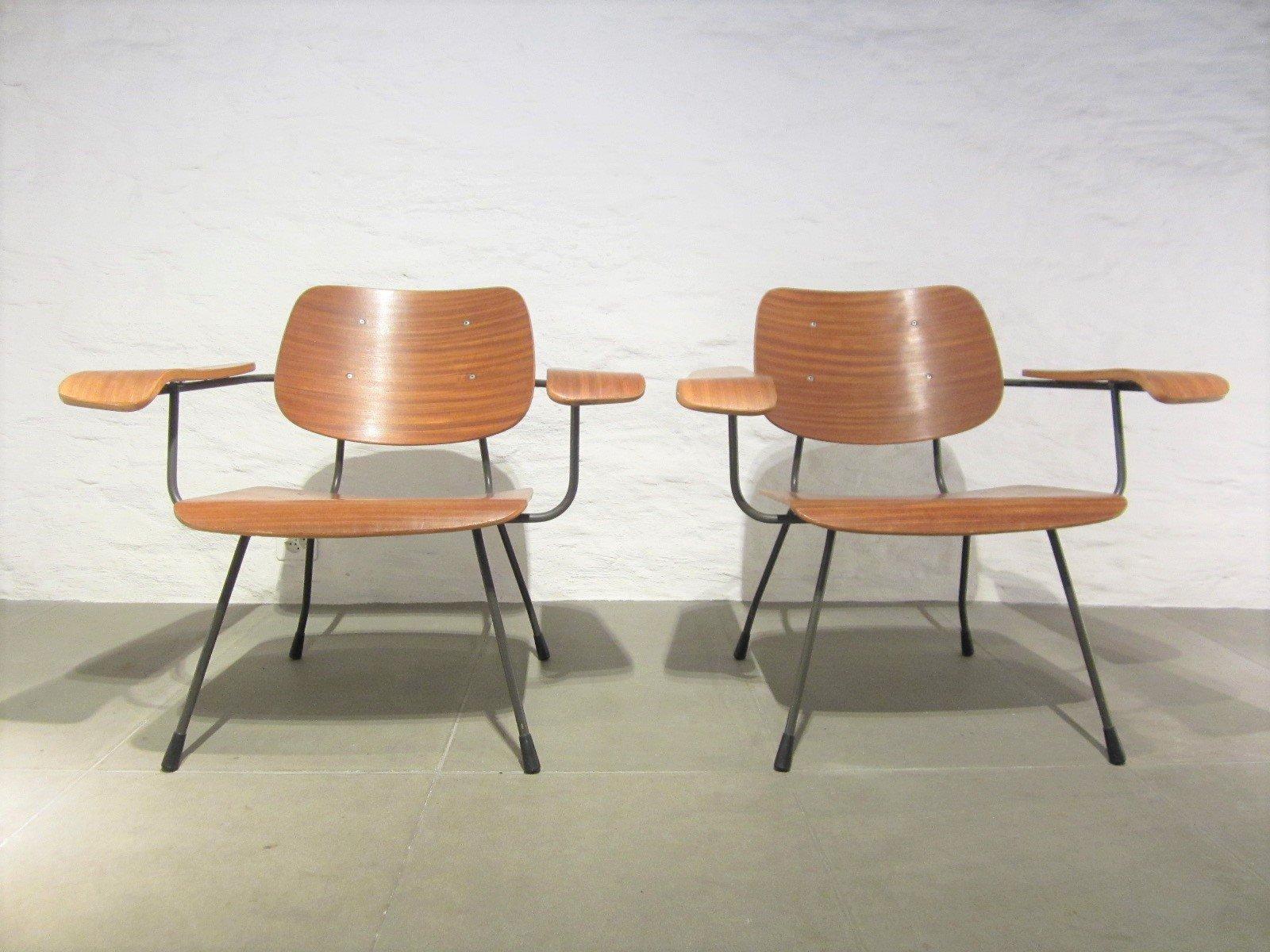 Vintage Sessel mit Teak-Furnier von Tjerk Reijenga für Pilastro, 2er S...