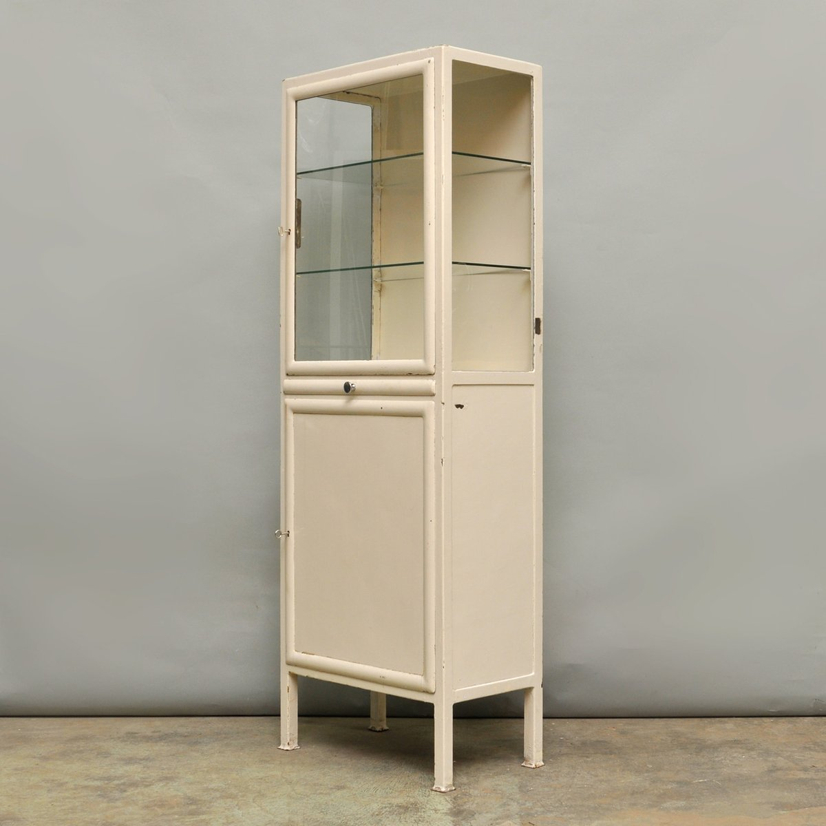Beau Vintage Medical Cabinet In Iron U0026 Glass, 1940s