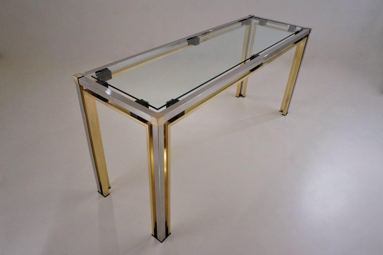 table console en laiton chrome par romeo rega 1970s en vente sur pamono. Black Bedroom Furniture Sets. Home Design Ideas