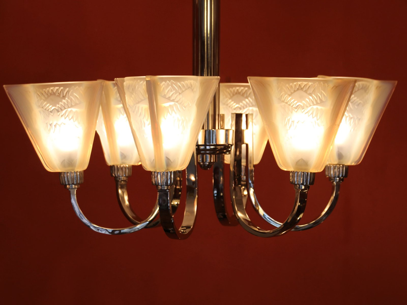 Art Deco Ceiling Light With 6 Arms And Opaline Glass Tulip Shades From Petitot For Sale At Pamono