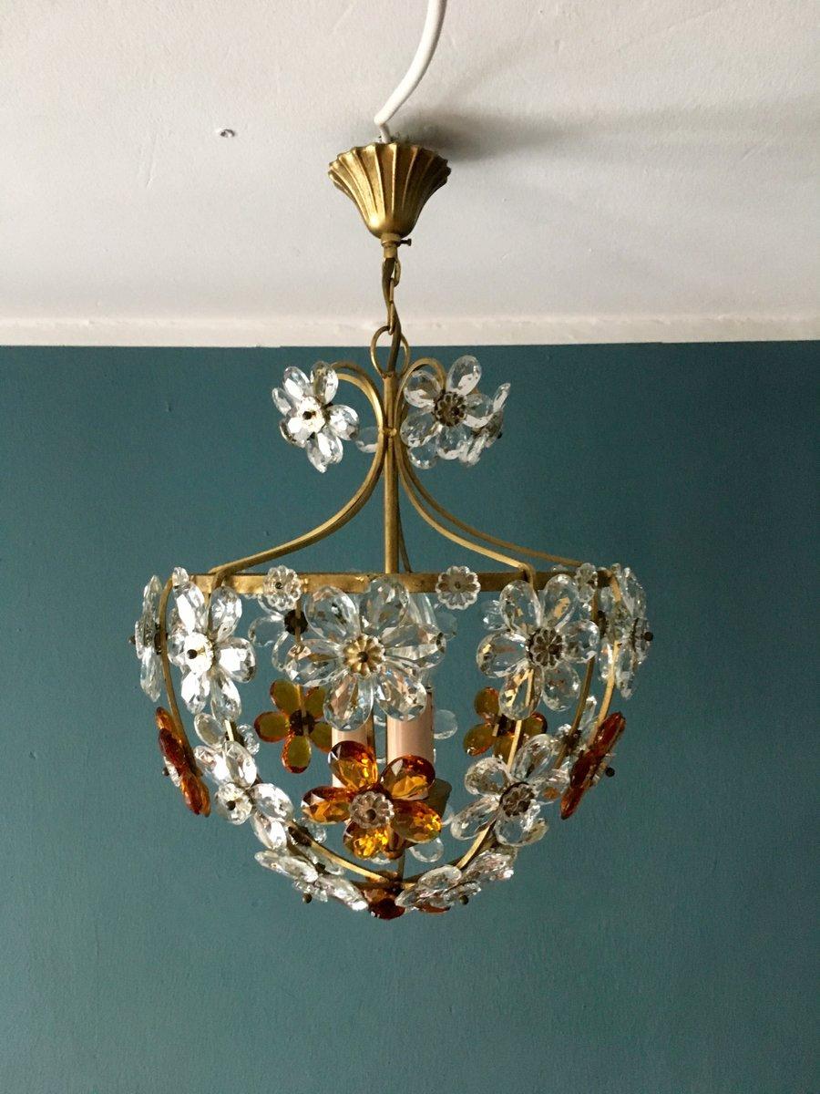 Italienische Deckenlampe mit Blüten von Christoph Palme, 1960er