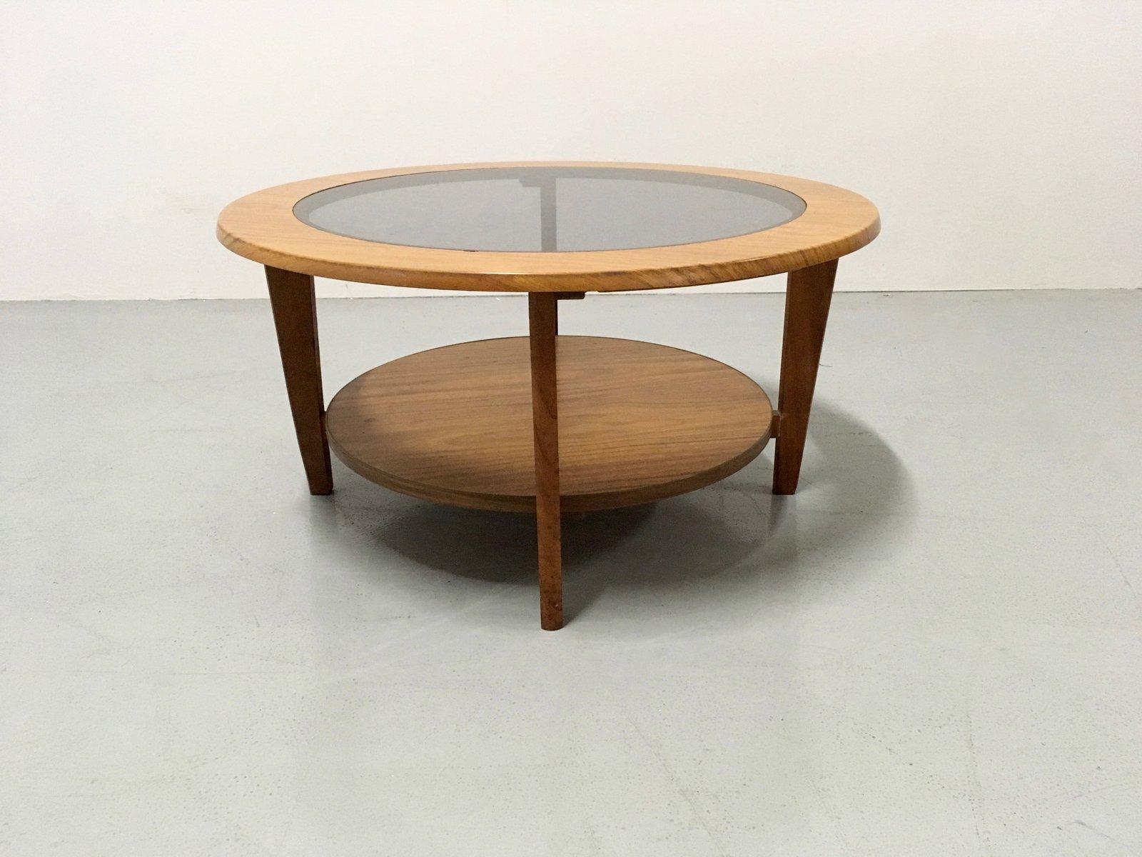 table basse vintage ronde avec verre danemark 1960s en. Black Bedroom Furniture Sets. Home Design Ideas