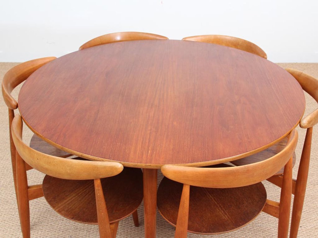 teak furnier buche heart esszimmer set von hans wegner f r fritz hansen 1952 bei pamono kaufen. Black Bedroom Furniture Sets. Home Design Ideas