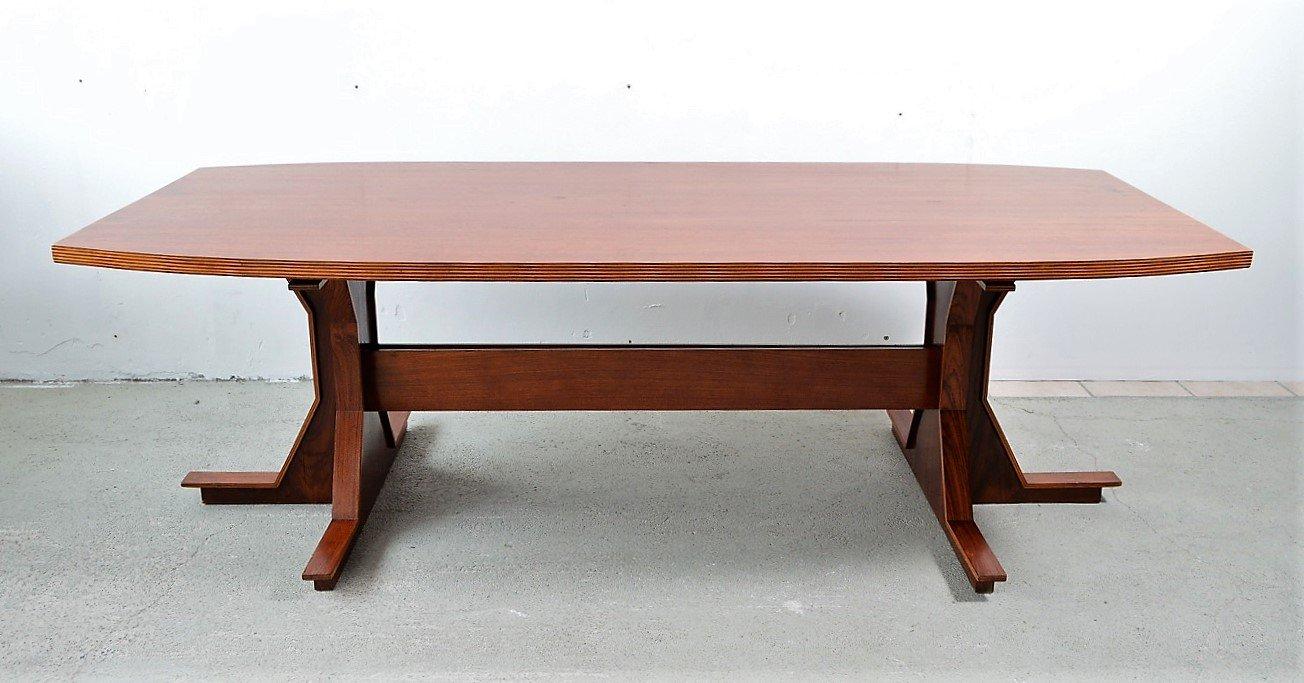 Italienischer Esstisch oder Konferenztisch aus Nussholz Furnier, 1950e...