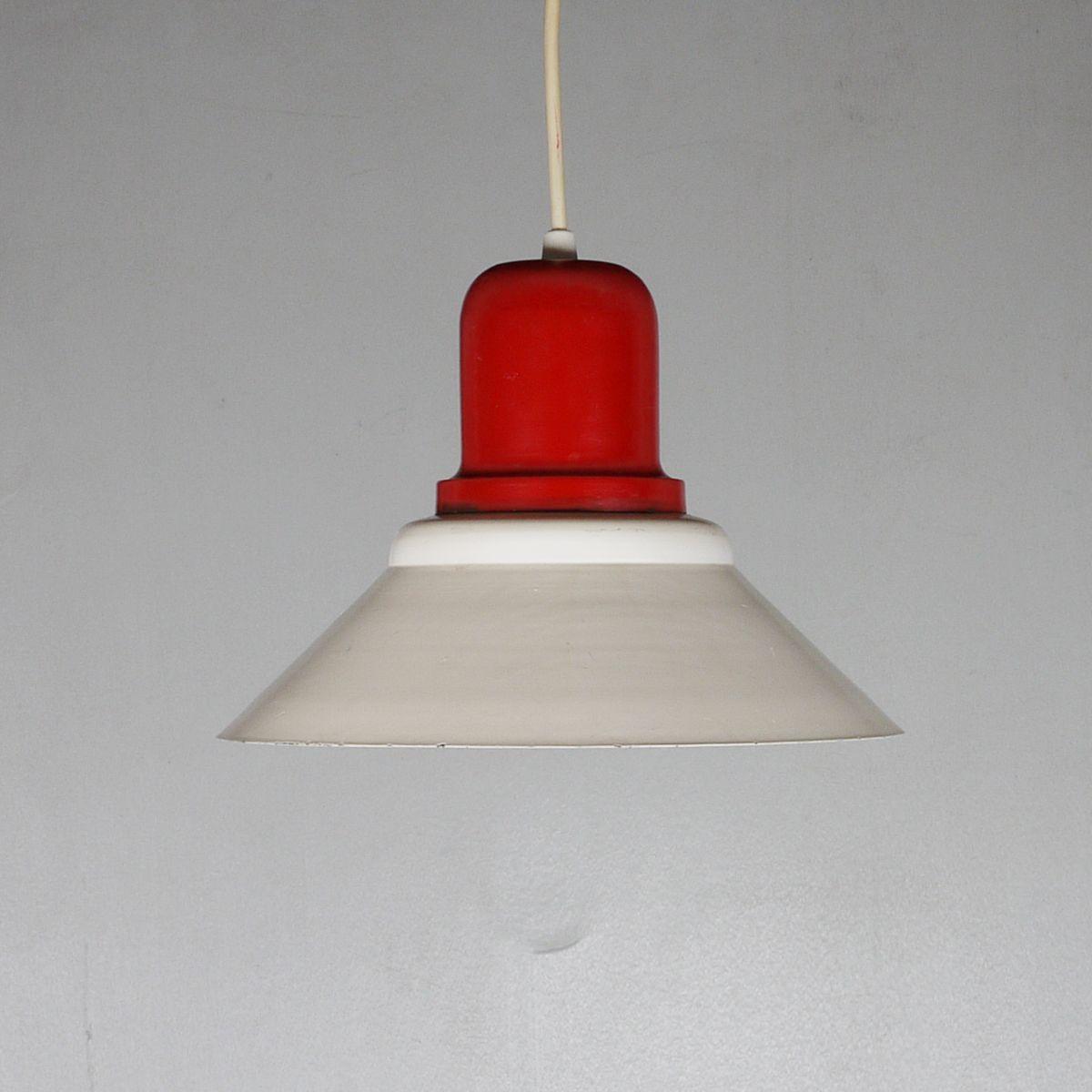 Hängelampe aus Metall in Rot & Creme