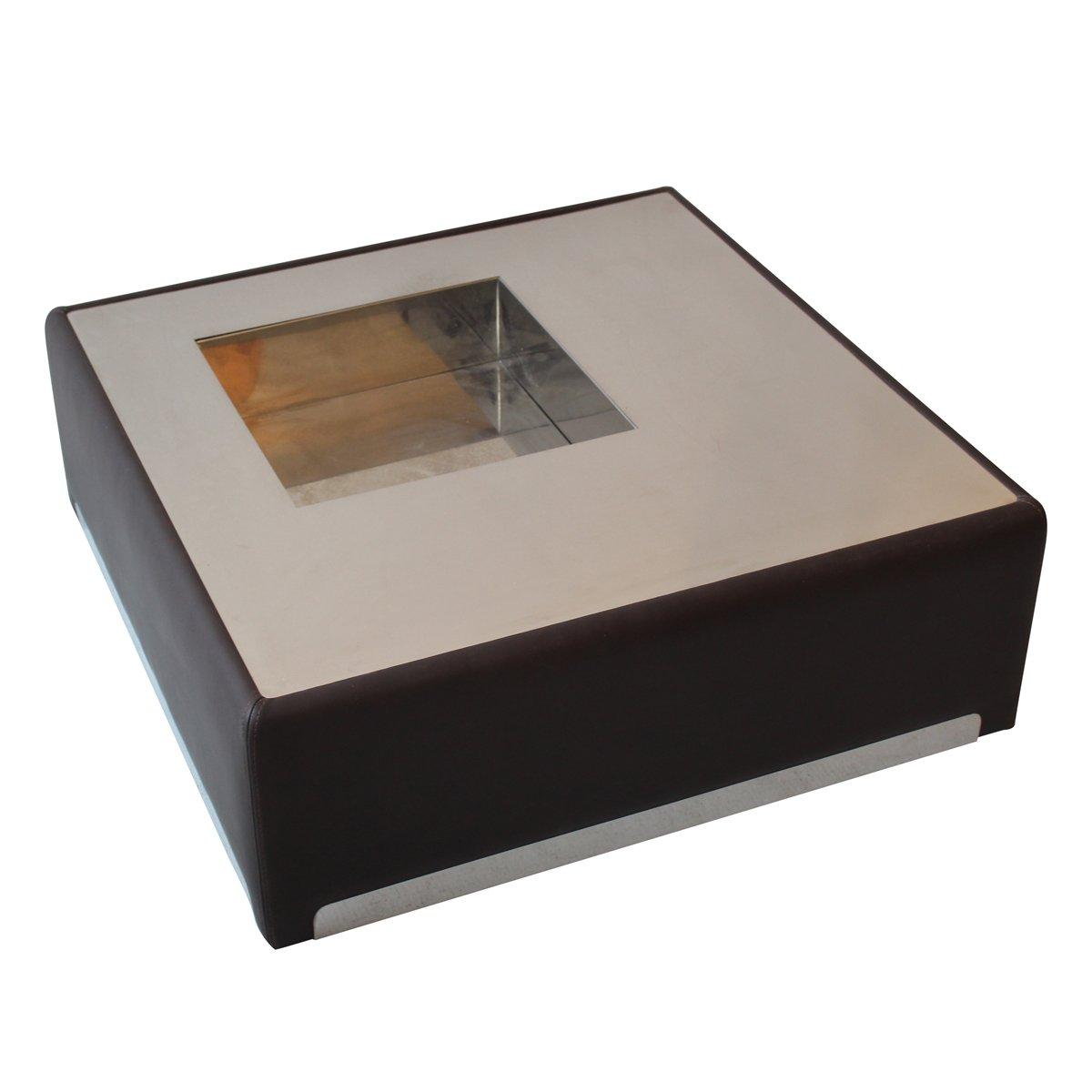 table basse en acier inoxydable cuir 1970s en vente sur pamono. Black Bedroom Furniture Sets. Home Design Ideas