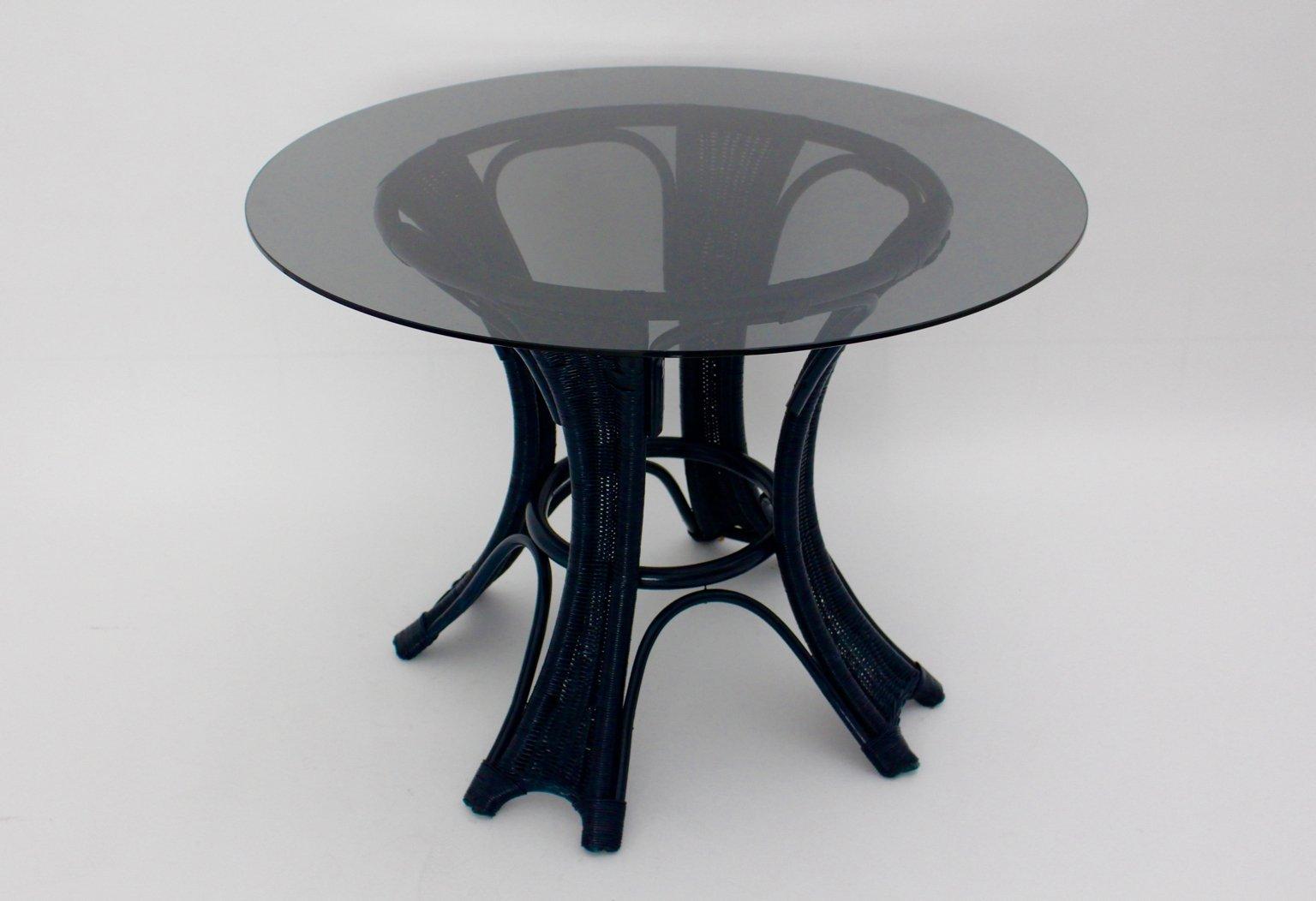 Blauer Rattan Tisch, 1980er