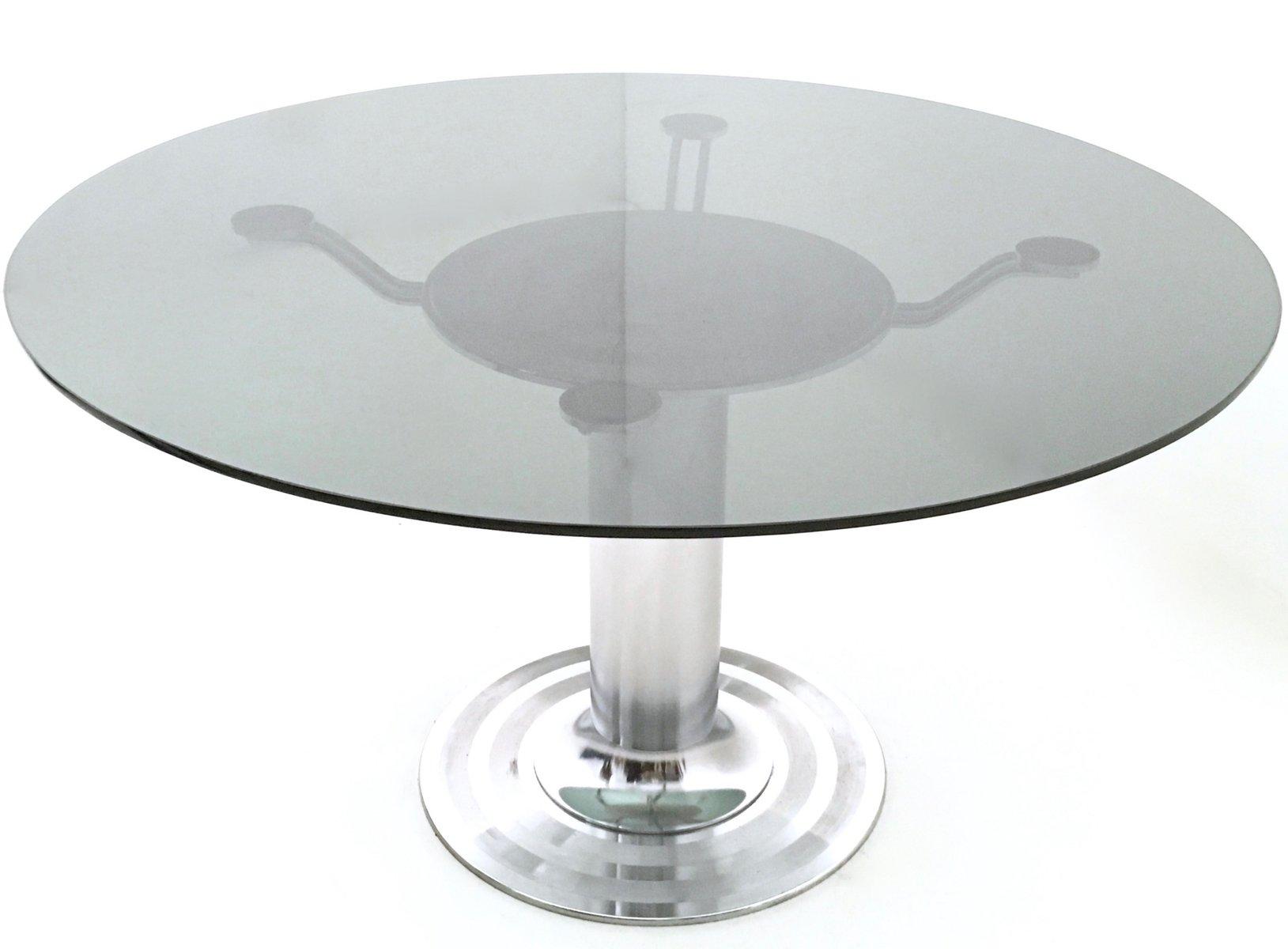 Runder Esstisch aus Verchromtem Metall & Glas, 1970er