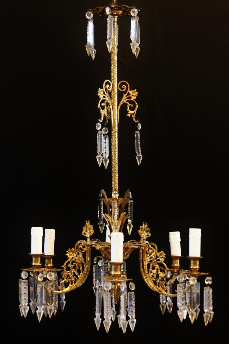 Antiker Spanischer Kerzenständer aus Bronze & Geschliffenem Glas, 1850...
