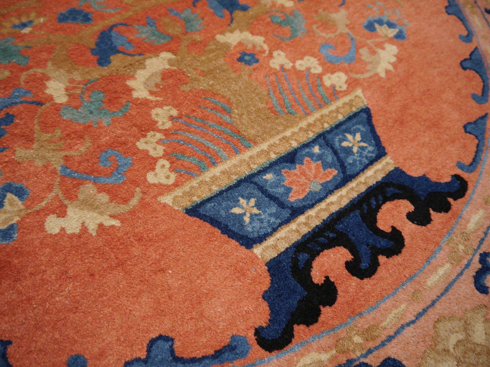 tapis art d co ovale nou la main chine en vente sur pamono. Black Bedroom Furniture Sets. Home Design Ideas