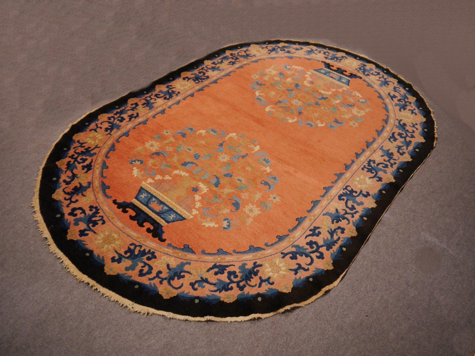 Chinesischer handgekn pfter ovaler art deco teppich bei - Art deco teppich ...