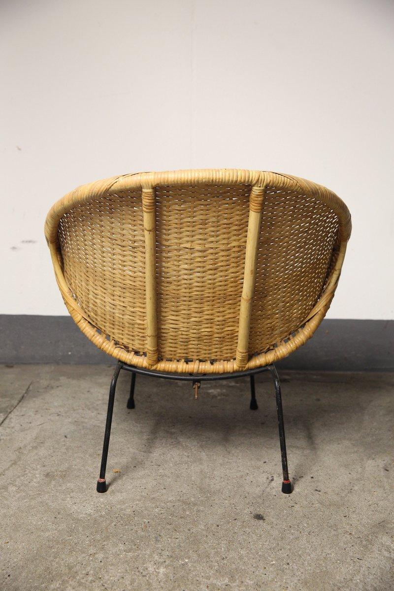 chaise en osier et bambou rondes 1950s en vente sur pamono. Black Bedroom Furniture Sets. Home Design Ideas