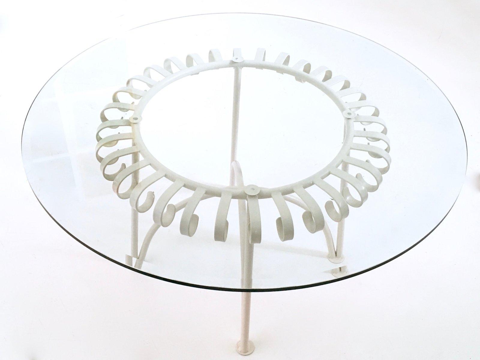 Couchtisch aus glas lackiertem metall 1950er bei pamono for Couchtisch metall glas