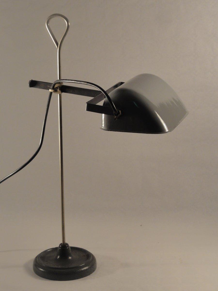 Graue Arbeitslampe mit Eisenfuß & Emaille Leuchte von BAG Turgi, 1910e...