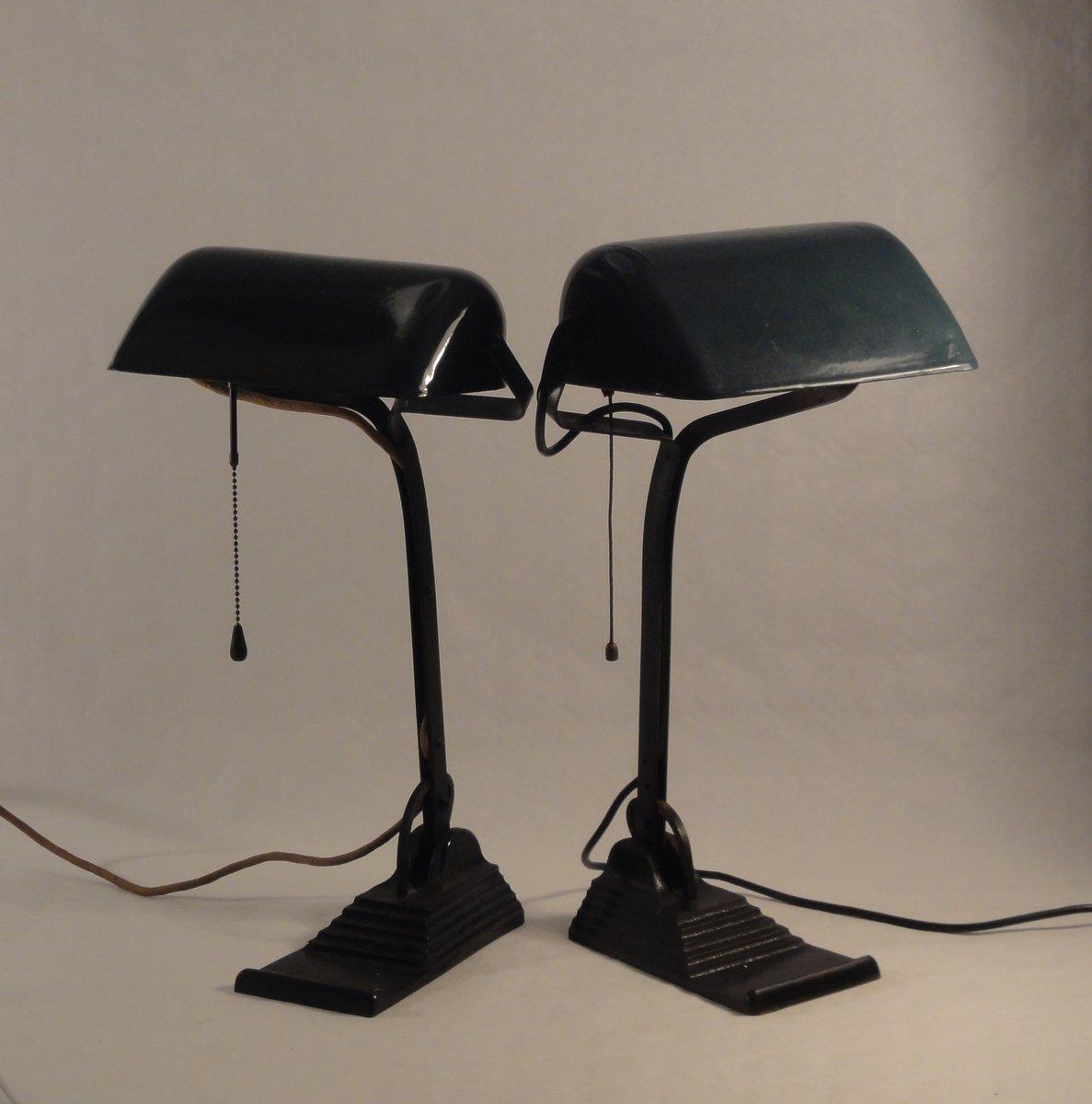 Banker Lampen mit Petrolfarbenen Metallschirmen, 1910er, 2er Set
