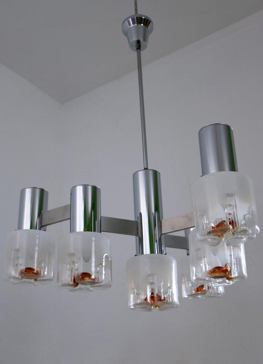 chandelier en verre souffl et m tal par mazzega 1970s en vente sur pamono. Black Bedroom Furniture Sets. Home Design Ideas