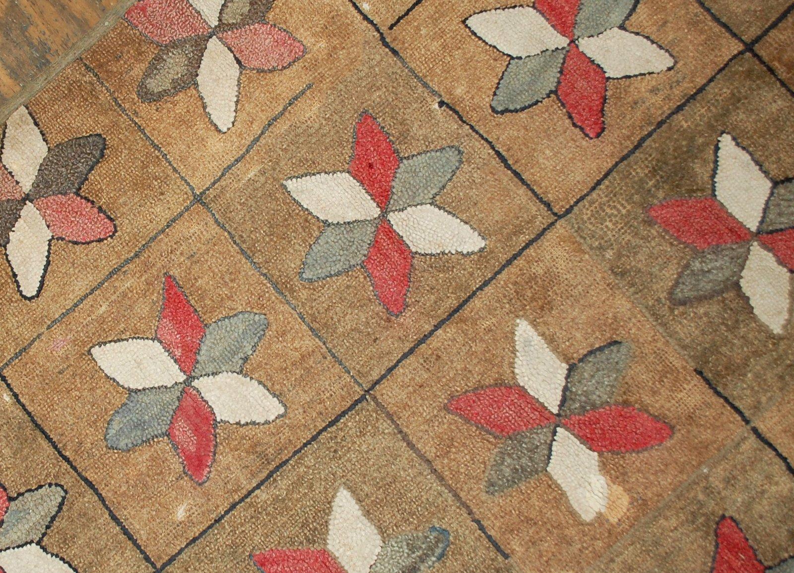 antiker handgekn pfter amerikanischer teppich 1880er bei pamono kaufen. Black Bedroom Furniture Sets. Home Design Ideas