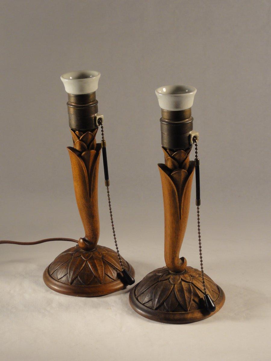 Florale Geschnitzte Jugendstil Holz Tischlampen, 1900er, 2er Set