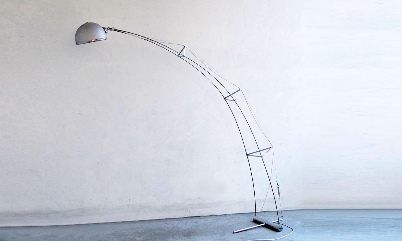 Bogenlampe aus Stahl & Aluminium, 1970er