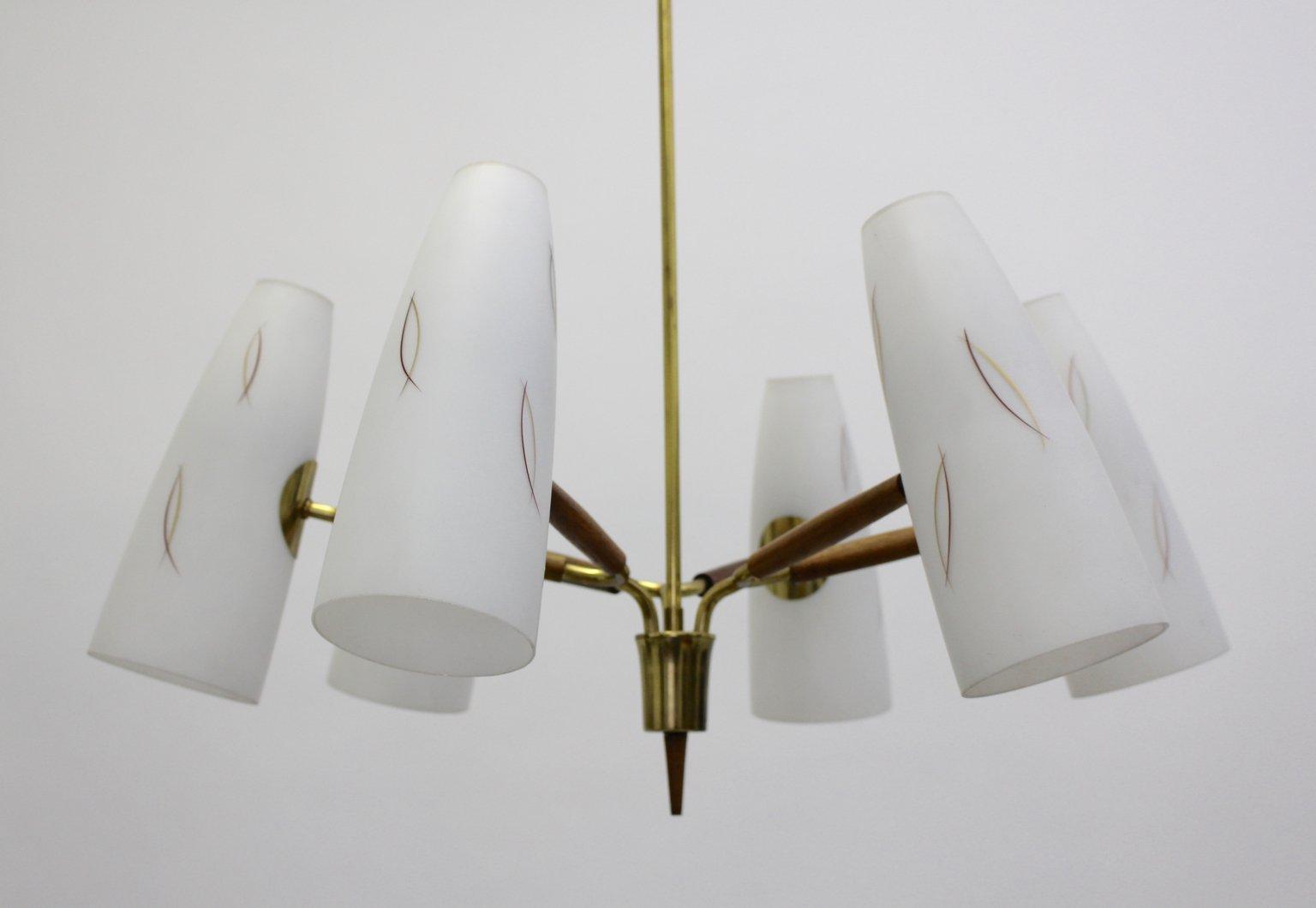 Opalglas Kronleuchter mit 6 Leuchten von Rupert Nikoll, 1950er