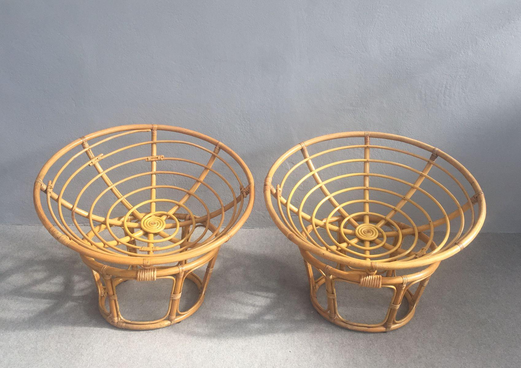 Vintage Bambus Korbstühle, 2er Set