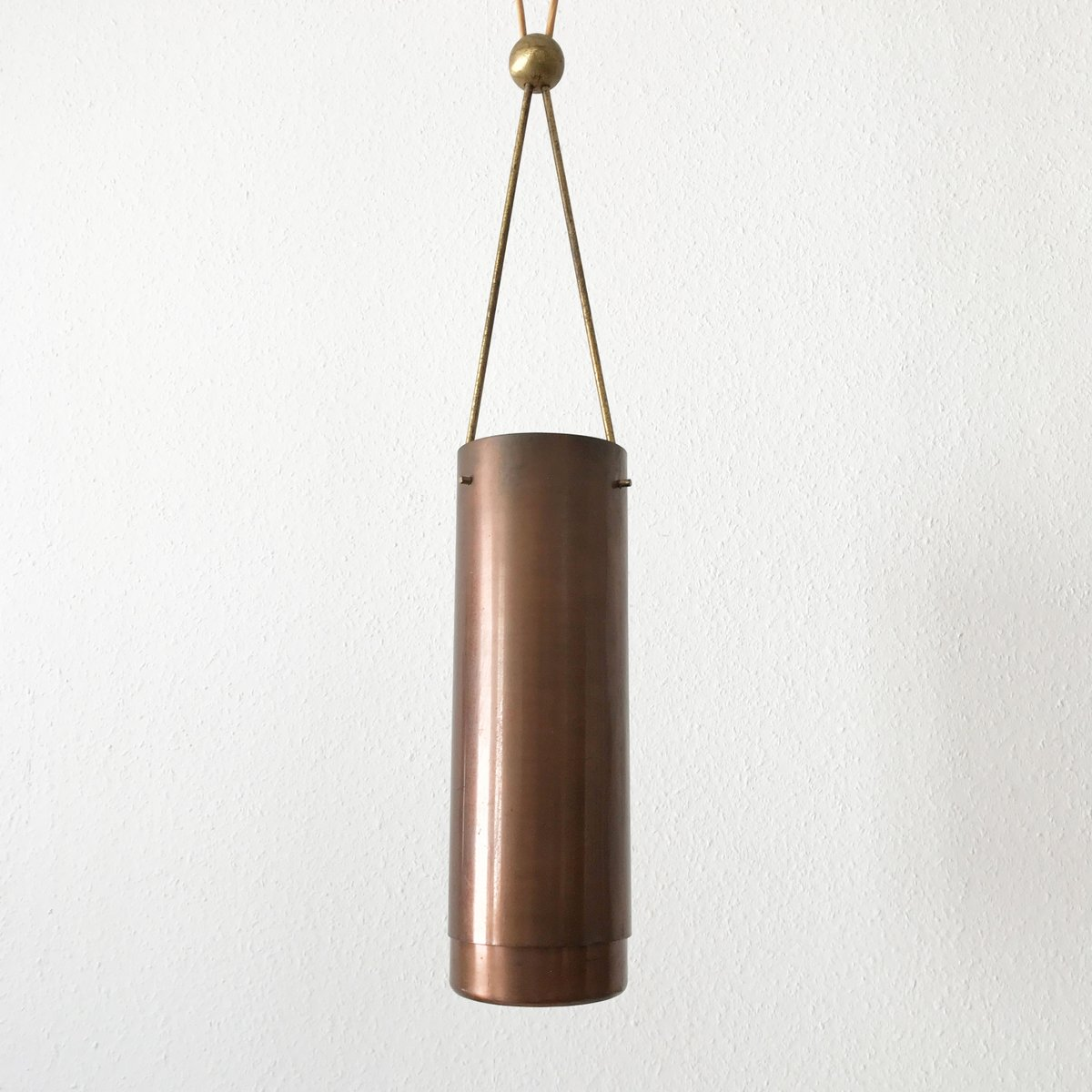 mid century modern cylindrical pendant light 1950s for sale at pamono. Black Bedroom Furniture Sets. Home Design Ideas