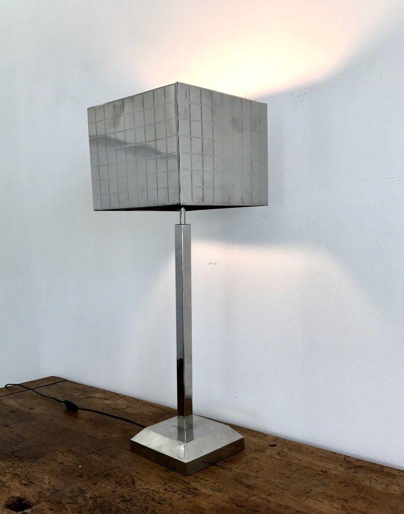 Minimalistische Verchromte Lampe aus Stahl, 1970er