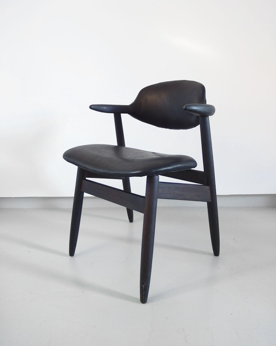 cowhorn chairs in black leather by tijsseling for hulmefa 1950s set of 4 for sale at pamono. Black Bedroom Furniture Sets. Home Design Ideas