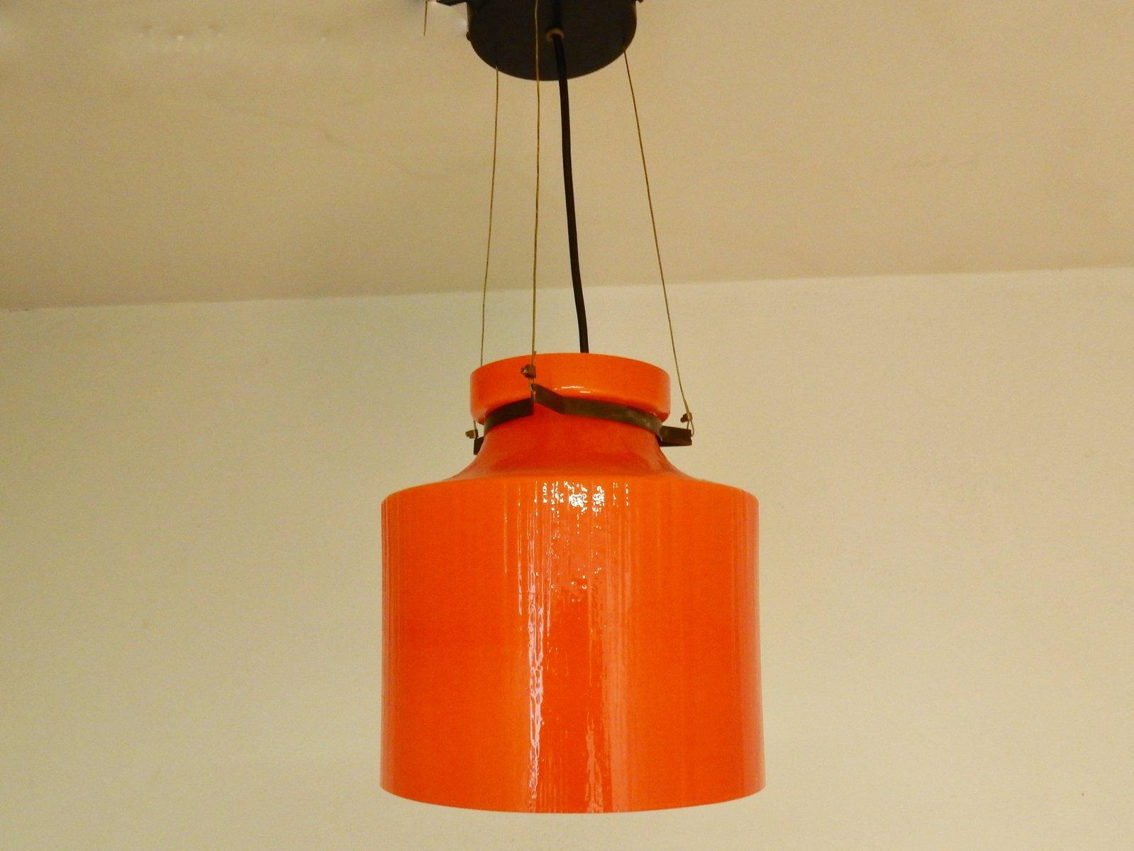 Geriffelte Orangenfarbene Glas Hängelampe, 1970er