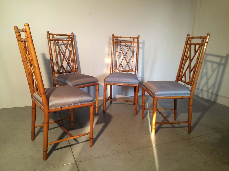 Chaises en faux bambou 1970s set de 4 en vente sur pamono for Faux bambou