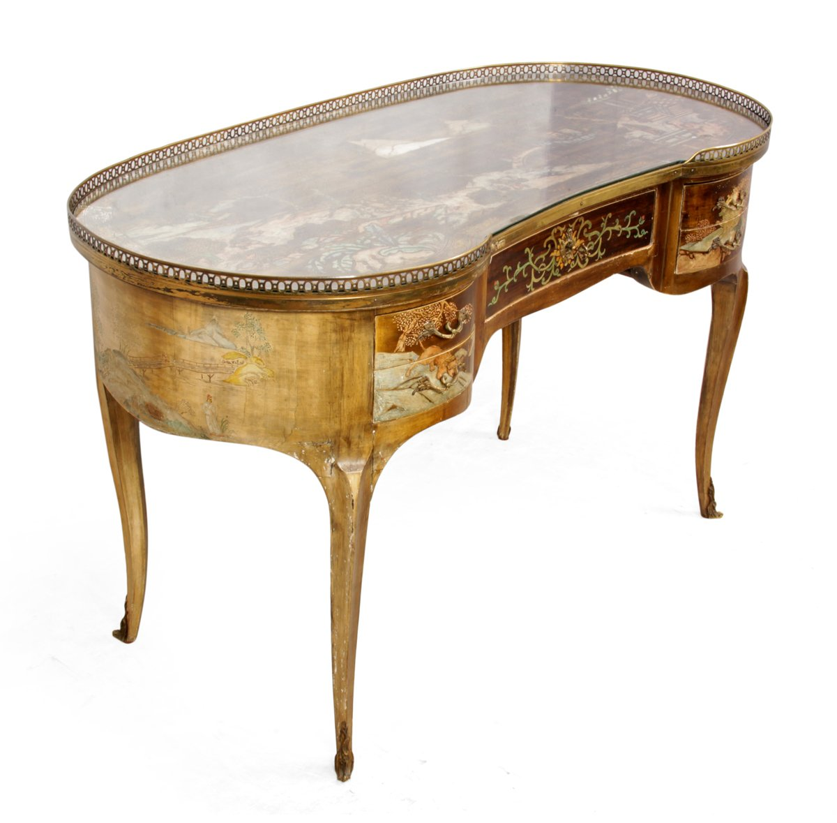 Antique French Chinoiserie Kidney Writing Desk, 1860s - Antique French Chinoiserie Kidney Writing Desk, 1860s For Sale At Pamono