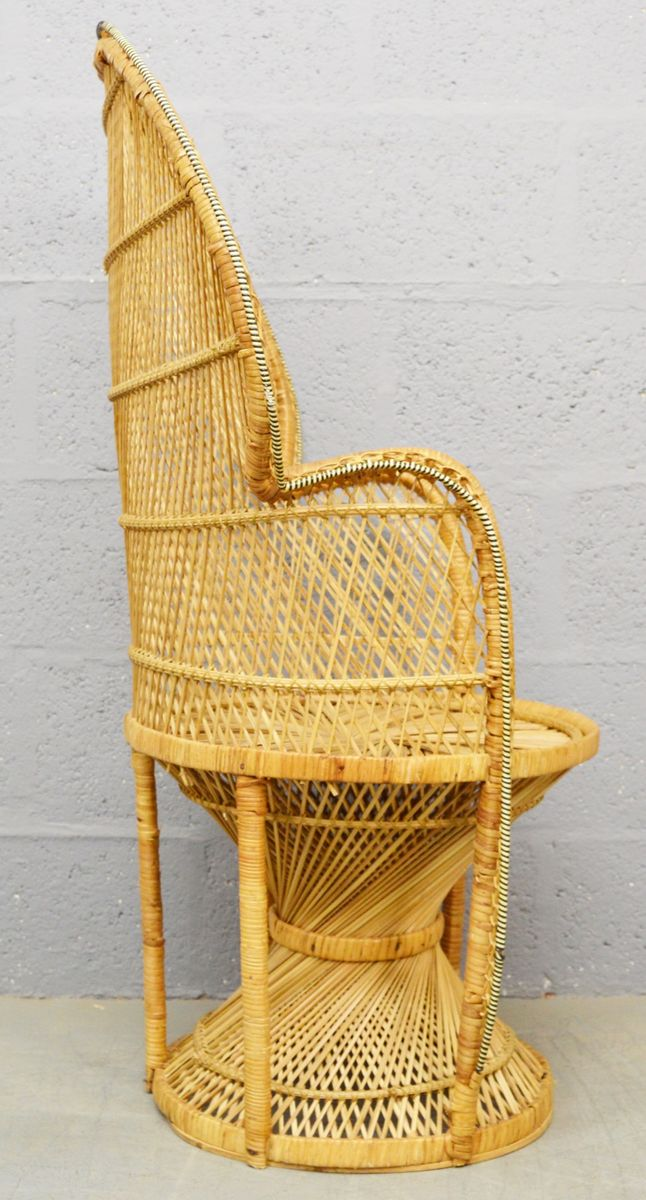 Astounding Mid Century Wicker Peacock Chair 1970S Gmtry Best Dining Table And Chair Ideas Images Gmtryco